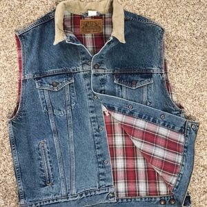 Patriotic Levis Denim Vest with motorcycle/flag